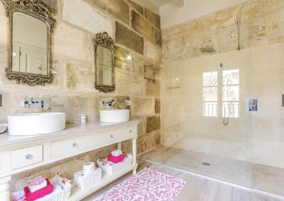 Bathrooms are similarly fitted to a standard